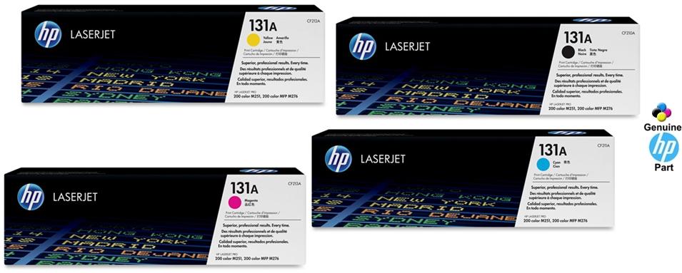 ... Cyan, Magenta & Yellow HP LaserJet Pro 200 color Printer M251nw/ MFP M276nw Original Toner Cartridges, CF210A/ CF211A/ CF212A/ CF213A (131A)